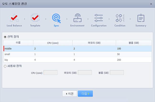 Cloudit Console 오토스케일링 생성-Spec 화면