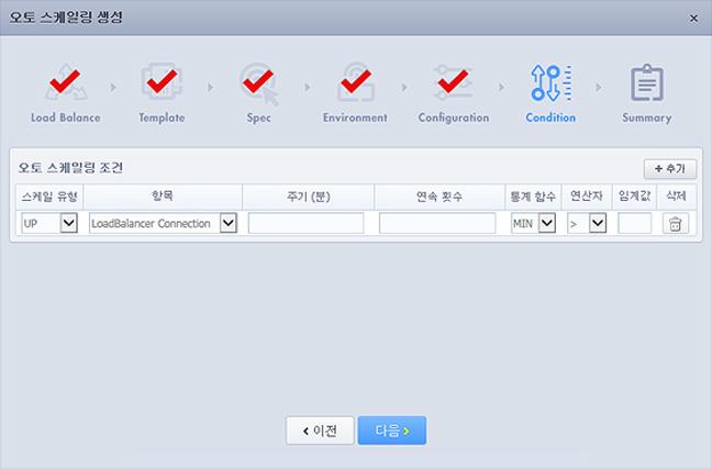 Cloudit Console 오토스케일링 생성-Condition 화면